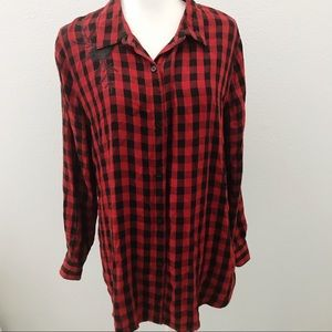 Beachlunchlounge buffalo plaid embroidered flannel